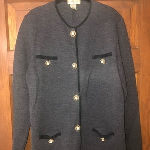 Charcoal gray sweater with gold pearl buttons SZ L
